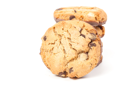 morsels: Chocolate chip cookie isolated on white background
