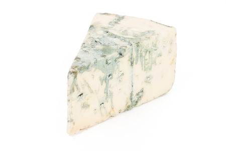 roquefort: Blue cheese isolated on the white background