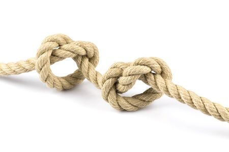 knots: Two heart shape knots of rope isolated on white background