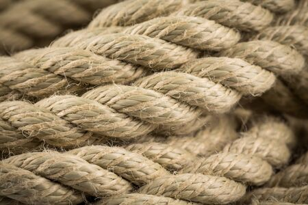 Close-up of an old frayed boat rope as a background Stock Photo