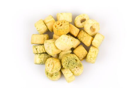 Garlic bread with herbs on a white background Stock Photo