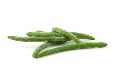 long bean: Frozen cut green beans vegetable, isolated on white