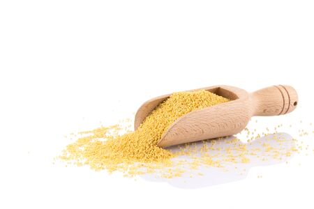 sorgo: Dry millet isolated on white. Top view or flat lay. Healthy food and diet concept