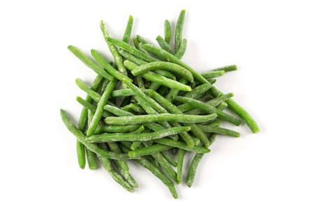Frozen cut green beans vegetable, isolated on white