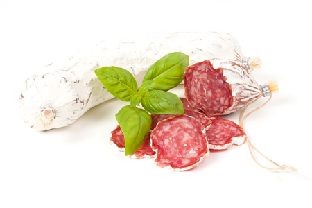 air dried: Salami sliced isolated on the white background