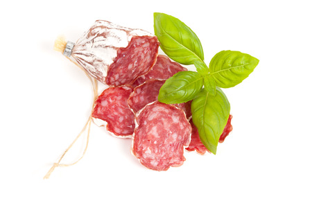 Salami sliced isolated on the white background