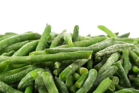 haricot: Frozen cut green beans vegetable isolated on white