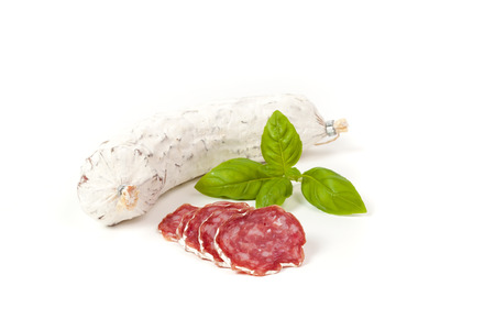 air dried salami: Salami sliced isolated on the white background