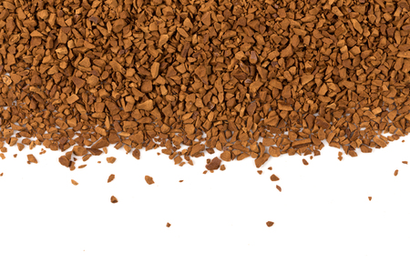 Heap of instant coffee for background closeup on white Stock Photo