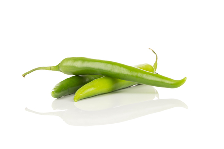 Green chili pepper isolated on white background