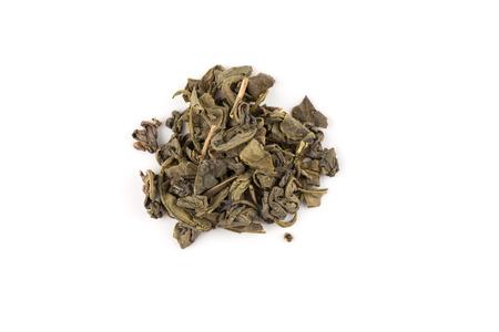 Gunpowder green tea isolated on a white background