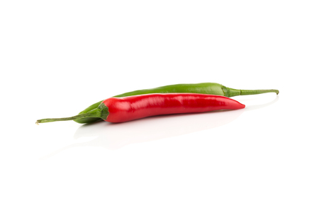 Green and red chili pepper isolated on white background Stock Photo