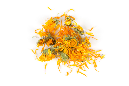 Calendula flowewr tea for infusion on white background Stock Photo