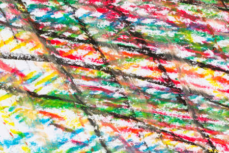 Crayon drawing texture of different colors - abstract background - on paper Stok Fotoğraf