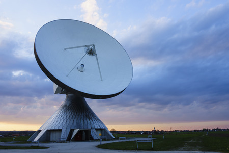 sattelite: satellite dish in the sunset