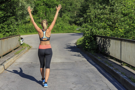 Running woman after Stock Photo