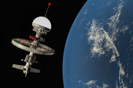 short trip: a space-hotel near the Earths atmosphere Stock Photo