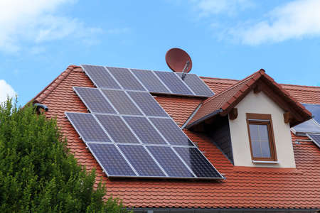 a house roof with photovoltaic