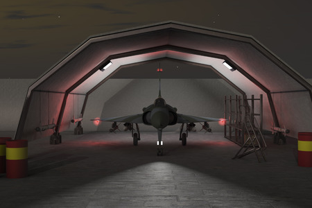 hangar: a military hangar with jet fighter
