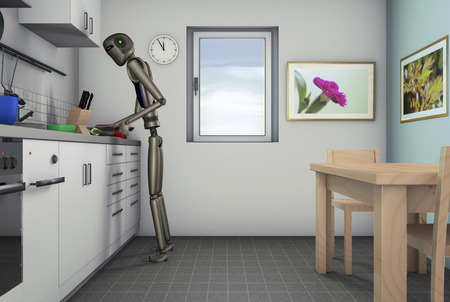 food processor: Food processor, a robot can help in the kitchen (3d rendering)