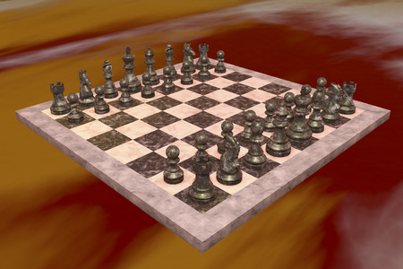exclusively: A chess game with black figures Exclusively (3d rendering)