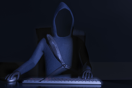 A hacker at work for example data claw Stock Photo