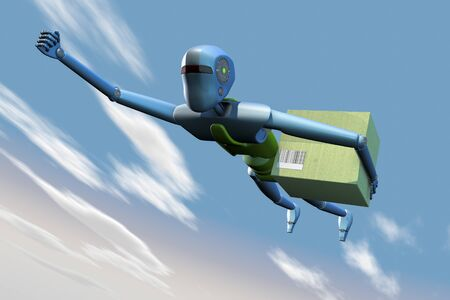 Delivery air robot Stock Photo