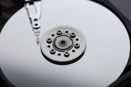 terabyte: Close ups of an open computer harddrive