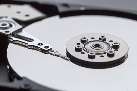 Close ups of an open computer harddrive