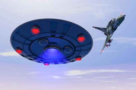 A combat jet hits at ufo