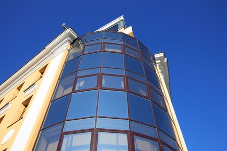 edge of office building  on sky background photo