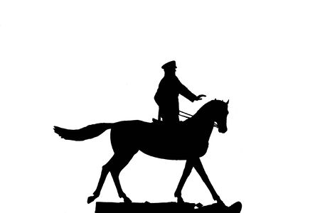 synchronized: silhouette of military man , horseman on white background, isolated