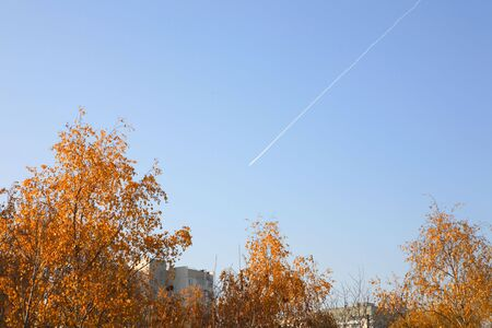 inversion: inversion trace of airliner over city