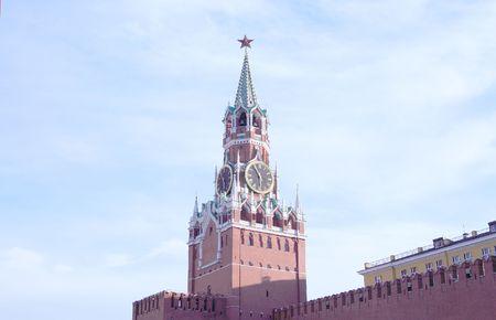 Kremlin tower on sky background in city center photo