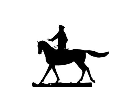 horseman: silueta del hombre militar, jinete sobre fondo blanco, aislados