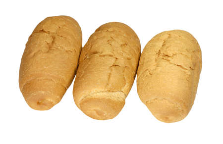 three small loaf of bread on white background photo