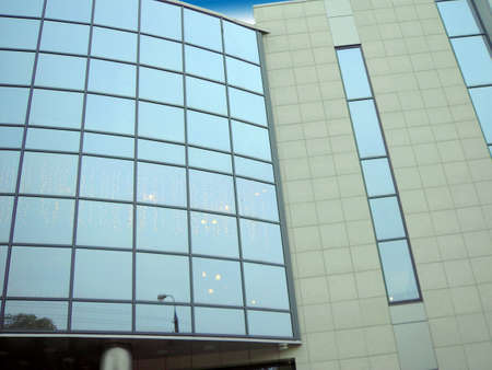 window wall of trading center in city photo