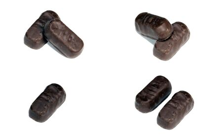 seven chocolate candy with filling on white background Stock Photo - 3170336
