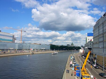 quay in city center at summer photo