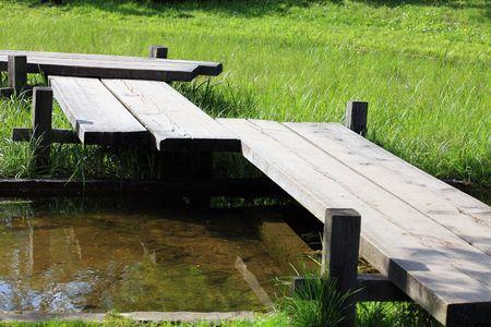 wood bridge in japan garden by Nakajima in moscow photo