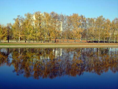 city park in gold fall, oktober, morning Stock Photo - 3511511