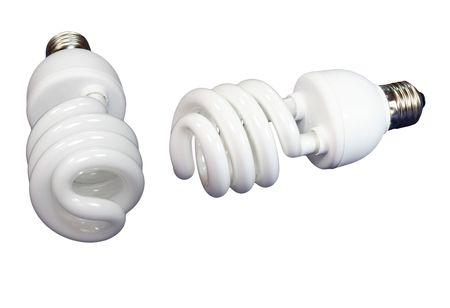 two luminous tube lamp on white background, isolated Stock Photo - 3530801
