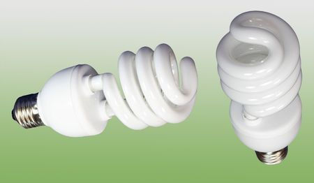 two luminous tube lamp on green background photo
