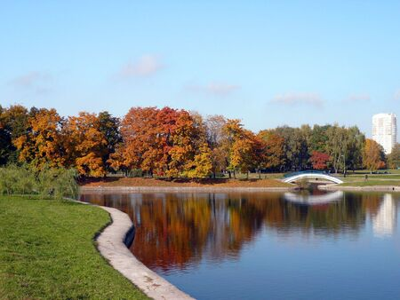 city park in gold fall at september photo