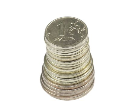 stack of coin on white background photo