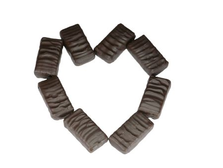 chocolate heart  on white background photo