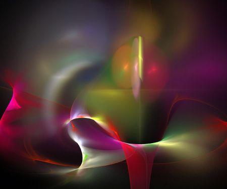 digital fractal on black background 写真素材