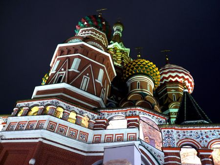 blessed Basil cathedral at night in moscow Stock Photo - 4628206