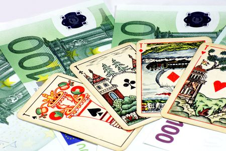 europe euros banknote with playing card photo