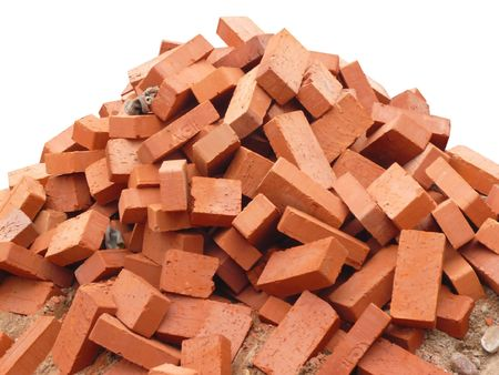 heap of red brick at day  isolated